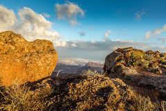 Mountain Peak with view to the Atlantic ocean, View from the Astronomic Observatory in Temisas, Gran Canaria. Mountain Peak with view to the Atlantic ocean Royalty Free Stock Photo