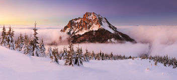Mountain peak at winter Stock Image