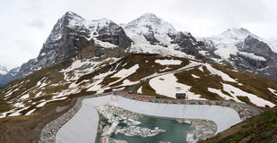 Mountain peaks. Famous mountain peaks: Eiger, Moench and Jungfrau in Grindelwald, Switzerland Stock Photos