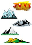 Mountain peaks. Set of mountain symbols for majestic design Royalty Free Stock Photography