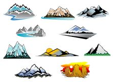 Mountain peaks. Set of mountain symbols for majestic design Royalty Free Stock Image