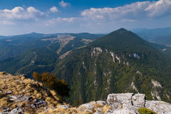 Mountain peaks. View from Mount St. Elias to the Western Rhodopes, Bulgaria Royalty Free Stock Image