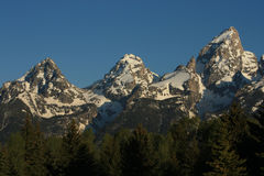 Mountain Peaks. Three snow-covered mountain peaks in the Grand Tetons royalty free stock photos