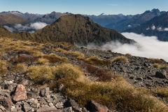 Mountain peaks above cloud inversion in Fiordland National Park Royalty Free Stock Photography
