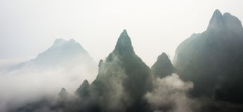 Mountain Peaks above the Clouds in Tianmen Mountain National Park, Zhangjiajie, China Royalty Free Stock Images