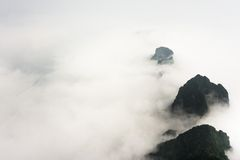 Mountain Peaks above the Clouds in Tianmen Mountain National Park, Zhangjiajie, China Royalty Free Stock Photos