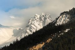 Mountain peaks andsnw landscape. Mountain peaks and snow landscape from the alps of France nature mountains and forest royalty free stock photos