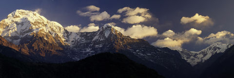 Mountain peaks. Annapurna South, Hiunchuli, and other peaks stock photography