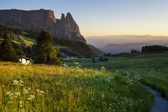 Alpe di siusi in South Tyrol, Italy. Mountain peaks around the plateau in Alpe di siusi in South Tyrol, Italy stock photos