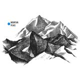 Mountain peaks background. Hand drawn landscape with mountain peaks. Vector illustration Stock Image