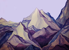Mountain. Peaks of the blue and purple Stock Photography