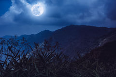 Mountain peaks with blue sky and beautiful full moon. Stock Images