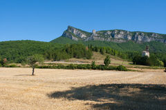 Mountain peaks and cliffs in the Drome region of Southern france. Overlooking the forest and farmland below Royalty Free Stock Images
