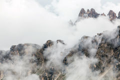 Mountain peaks in the clouds Royalty Free Stock Photo