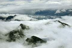 Mountain Peaks in Clouds and Glacier, Kluane National Park, Yukon Royalty Free Stock Photo