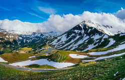 Mountain peaks covered with snow Stock Photo