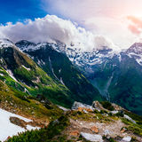 Mountain peaks covered with snow Stock Images