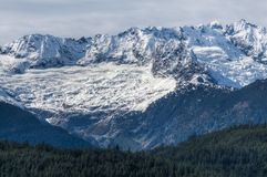 Mountain peaks covered in snow, Squamish, Britis Stock Image