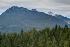 Mountain peaks covered in snow, Squamish, near Vancouver, BC Stock Images