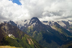Mountain peaks in Dombai. Royalty Free Stock Images