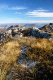 Mountain peaks in early winter Royalty Free Stock Photo