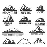 Mountain peaks emblems - alpinism and ascent Royalty Free Stock Photo