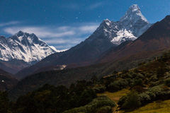 Mountain peaks  Everest Ama Dablam Nuptse Lhotse night. Nepal. Stock Images