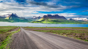 Mountain peaks and fjords Stock Photo