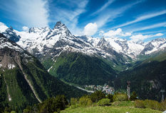 Mountain peaks and glaciers in Dombay, Western Caucasus, Russia Stock Image