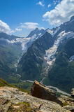 Mountain peaks, glaciers and valleys. At Caucasus, Russia royalty free stock image