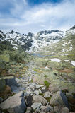 Mountain peaks of Gredos along with winter snow rests Stock Photo