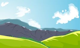 Mountain peaks and green valley. Landscape Banner. Vector Illustration Royalty Free Stock Photos