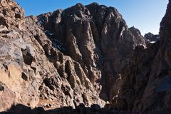 Mountain peaks of High Atlas in Toubkal national park, Morocco Stock Images