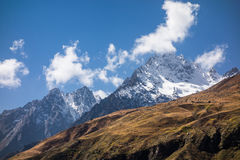 Mountain peaks of Himalayas. Snow capped mountain peaks of Himalayas Royalty Free Stock Photo