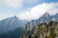 Mountain peaks at Lomnicke sedlo stock photos