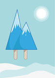 Mountain Peaks made of icy pop or ice block. Editable Clip Art. Royalty Free Stock Photo
