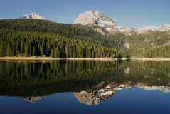 Mountain peaks mirror reflection_1 Stock Image