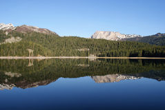Mountain peaks mirror reflection_2 Stock Photos