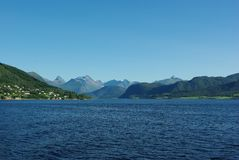 Mountain peaks on northern Atlantic coast, Norway Stock Images