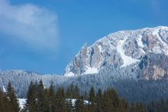Mountain peaks panorama in winter season. Mountaineering and hiking are just a few that can be promoted through this picture Stock Photography