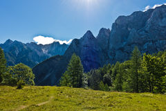 Mountain peaks of slovenian Alps at sunny morning near Vrsic mountain pass in Triglav national park Stock Images