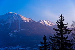 Mountain peaks of slovenian Alps at sunrise Royalty Free Stock Image