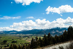Mountain Peaks with Snow Meadow, New Zealand. Mountain Peaks Fields Queenstown Arrowtown New Zealand Stock Images