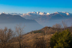 Mountain peaks and snowcapped ridges in the Alps Royalty Free Stock Photo
