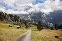 Mountain peaks, streams and meadows in Grindelwald, Switzerland Royalty Free Stock Images