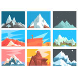 Mountain Peaks And Summits Landscape Vector Illustration Set With Mountains Of Different Geographic Zones. Stock Photo
