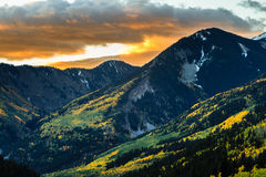 Mountain Peaks at Sunrise. Sunrise on a snowy Autumn morning in the San Juan Mountains of Colorado stock photography