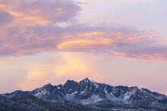 Mountain peaks in sunset Stock Photo