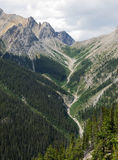 Mountain peaks and valley stock images
