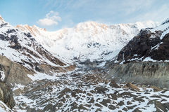 Mountain peaks and valley at Annapurna base camp, Nepal Royalty Free Stock Photography
